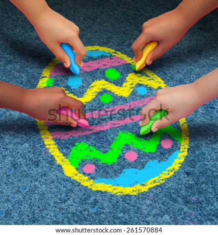 Easter arts and crafts concept as a group of children with chalk drawing a decorated egg on an asphalt texture as a symbol for cooperation and fun seasonal activities for kids.
