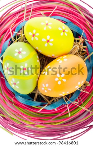 Easter background. Macro shot of painted eggs and easter decoration