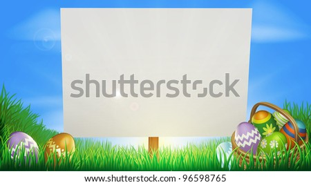 Easter background sign in middle of field with Easter eggs and basket