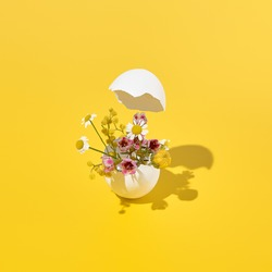 Easter background - white easter egg with flowers inside on trendy yellow background. Sunshine with hard shadow. Happy easter, spring, summer floral concept