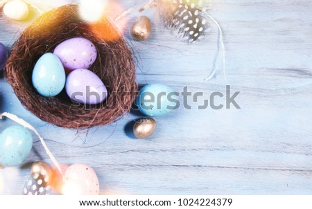 Easter background with Easter eggs and spring flowers #1024224379