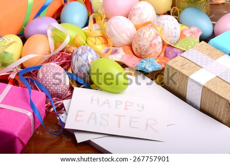 Easter background with eggs and gift box, easter holiday