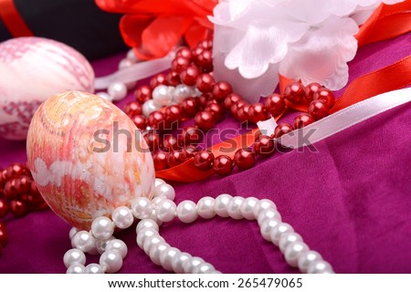 Easter background with eggs, easter ribbons,  easter spring decoration, easter holiday concept