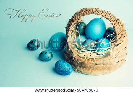 Easter background with eggs in basket. #604708070