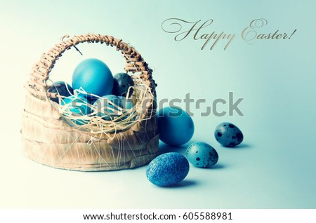 Easter background with eggs in basket. #605588981