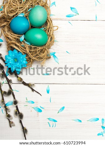 Easter background with eggs, nest and catkins on white wooden background, copy space #610723994