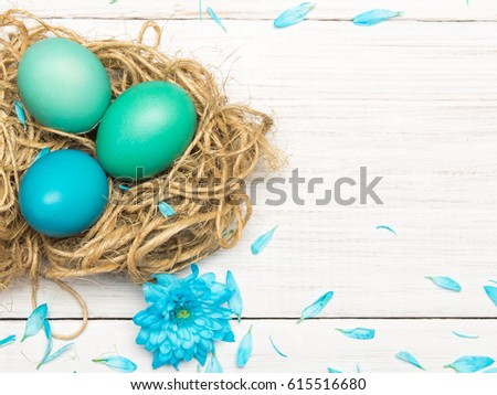 Easter background with eggs, nest and catkins on wooden background, copy space #615516680