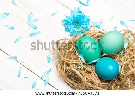 Easter background with eggs, nest and catkins on wooden background, copy space #785843371
