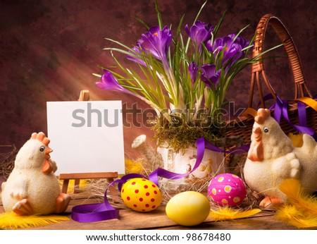 Easter background with flower and Easter eggs
