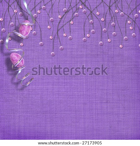 Easter background with paint eggs and purple beads