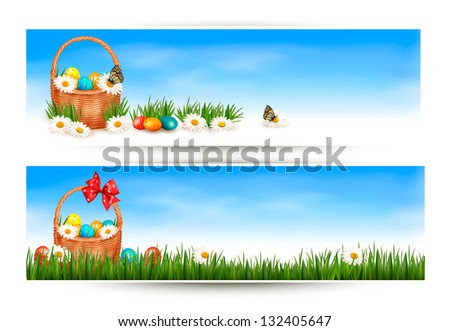 Easter banners with Easter eggs in basket and flowers. Raster version of vector