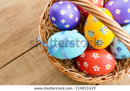 Easter basket with decorated eggs