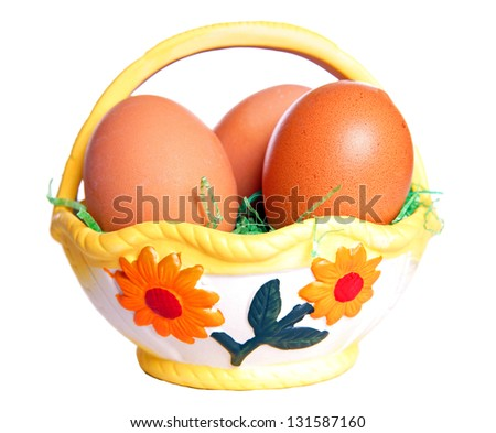 Easter basket with eggs / happy easter