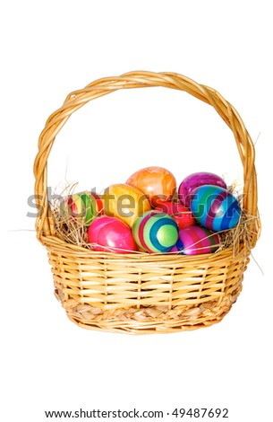 Easter basket with painted eggs on white background