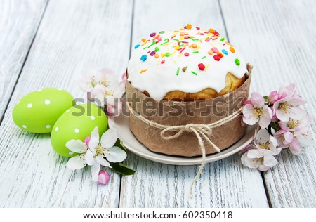 Easter bread and eggs with apple blossom