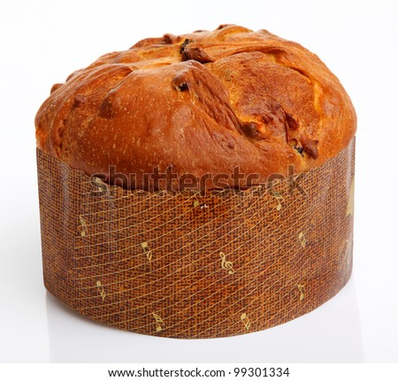 Easter Bread (Paska) isolated on white background