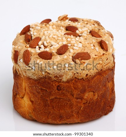 Easter Bread (Paska) isolated on white background - stock photo