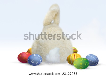 easter bunny and colorful easter eggs