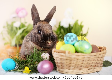 Easter bunny and Easter eggs on green grass #603400178