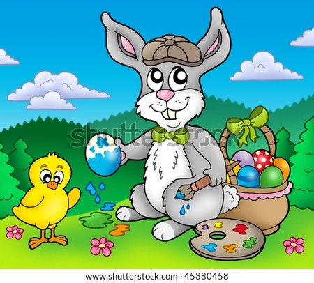 easter bunny pictures to color. stock photo : Easter bunny artist and chicken - color illustration.
