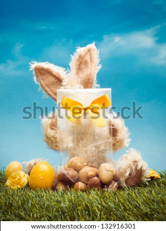 Easter bunny behind bag with chocolates in grass with eggs against blue sky