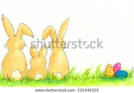 Easter bunny family - stock photo