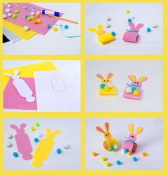 Easter bunny made of foamiran paper instruction step by step