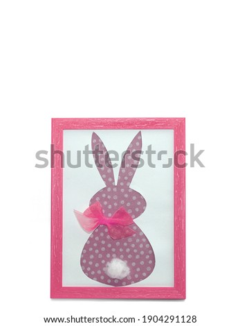 Easter bunny  paper applique in pink photo frame isolated on a white background. Happy Easter Day, Mother Day concept. Minimalizm. Easter card. Copyspace.                                             Stok fotoğraf ©