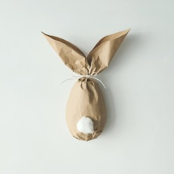 Easter bunny paper gift egg wrapping diy idea. Minimal easter concept