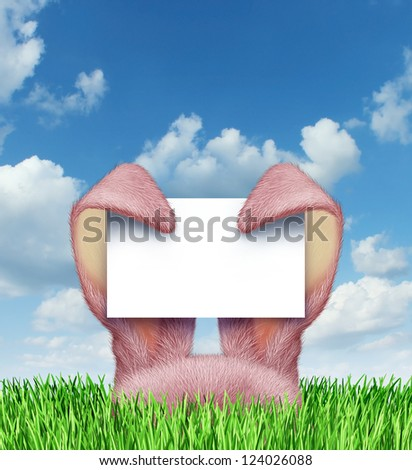 Easter bunny sign with pink rabbit ears holding a blank sign card on a spring blue sky popping up from green grass as a symbol of a fun holiday celebration advertising message.
