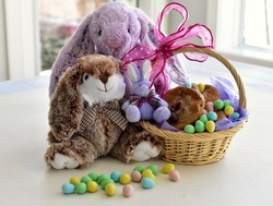 Easter Bunny treats and baskets for holiday Easter Sunday gifts for children, chocolate and stuffed toys. Photo concept, holiday, seasonal