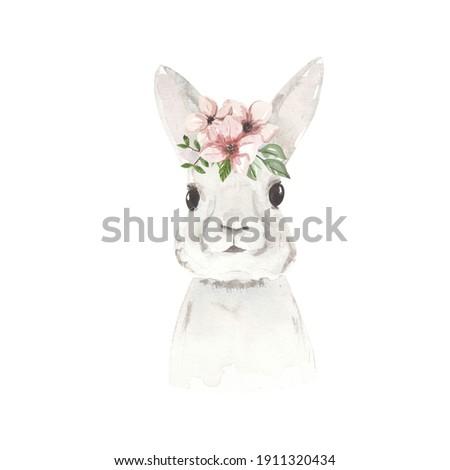 Easter bunny, watercolor Easter rabbit Foto stock ©
