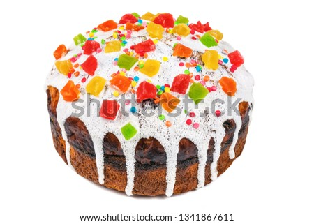 easter cake (bread) isolated on white