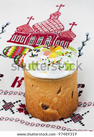 Easter cake on a background of traditional Ukrainian embroidery