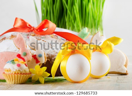 easter cakes, cookies  and eggs