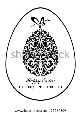 Easter card. Easter egg with floral elements. Illustration