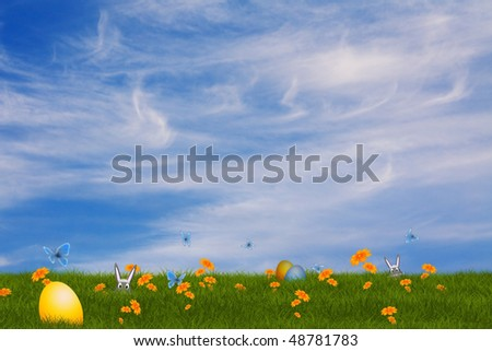 easter card with a field of flowers and butterflys around and a easter egg in front