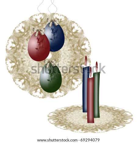 Easter card with colored eggs and burning candles on lace napkins