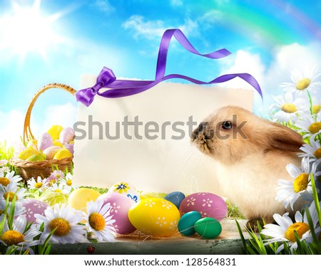 Easter card with Easter bunny and Easter eggs