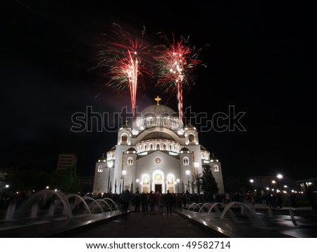 Easter celebration in front of St. Sava temple in Belgrade, Serbia