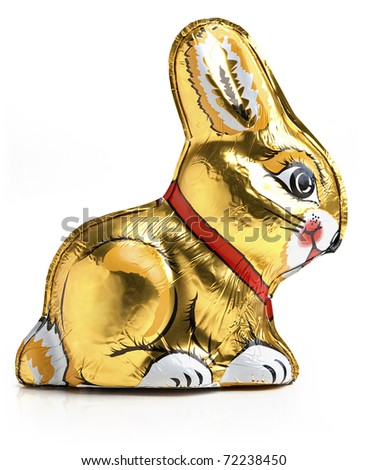 Easter chocolate rabbit - bunny. Isolated on the white background.