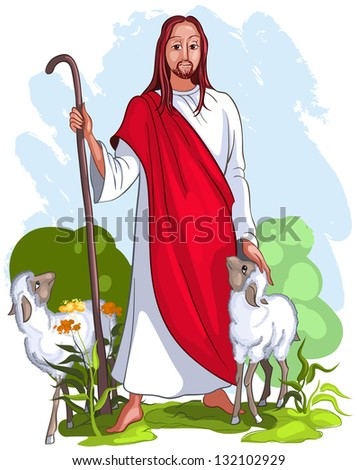 Easter Christian background of Jesus shepherd holding staff with two lambs. Raster version