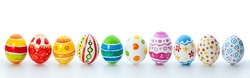 easter color eggs over white background