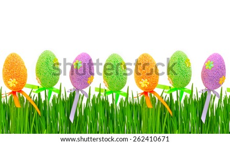 Easter colored eggs isolated on white