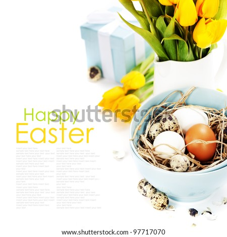 easter composition with eggs and spring flowers on white background  (with easy removable text )