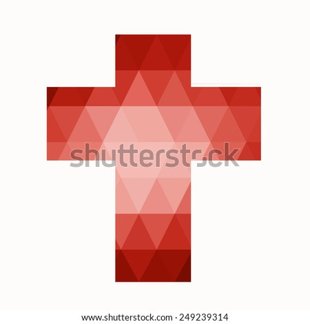 Easter Cross Clip Art Isolated On White Background, Low Poly Red ...