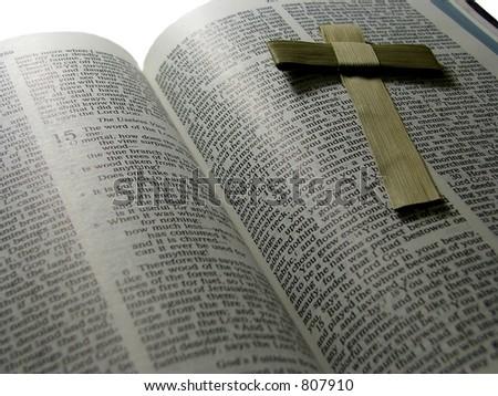Easter cross on bible