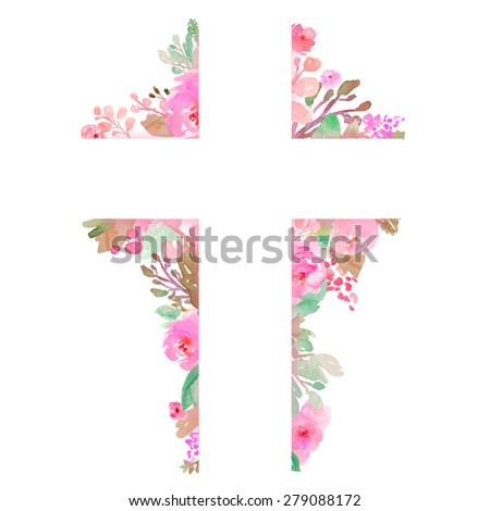 Easter Cross With Flowers. Painted Watercolor Flowers Cross. Cross Made of Flowers. Flower Cross. Christian Cross Background. Easter Cross Background