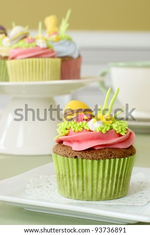 Easter cupcake with sugar decorations