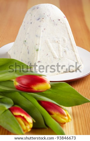 Easter Curd on a wooden table